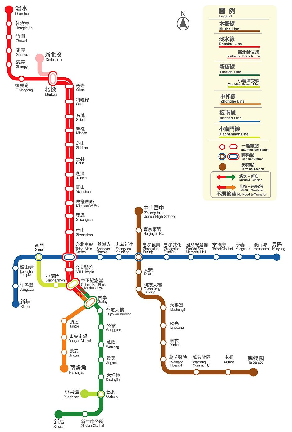 map of Taipei MRT lines
